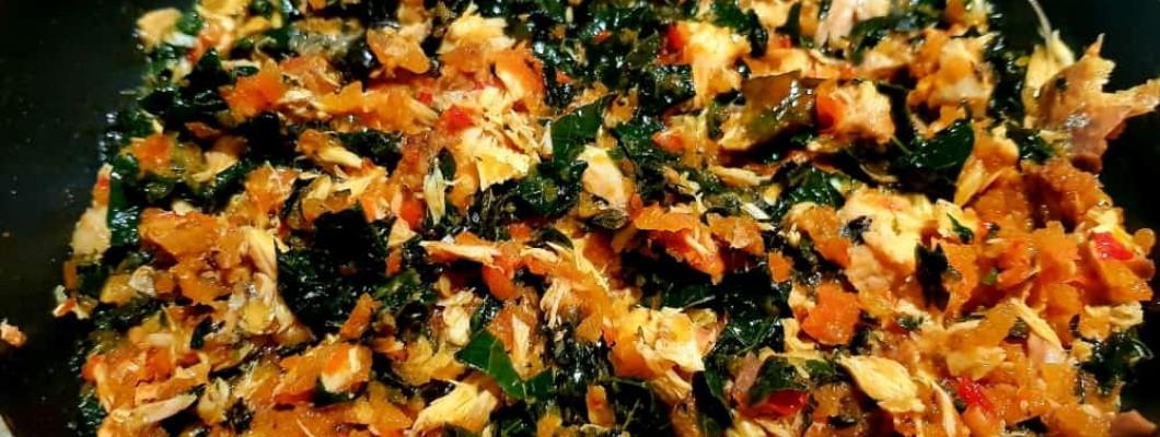 Pumpkin leaves in Mackerel (Titus) Sauce-Food Fantasies of a Yummy Mum